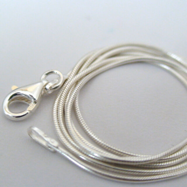 """Sterling Silver SNAKE Chain Necklace 1mm 925 Italian 16"""", 18"""", 20"""", 24"""", 30"""" NEW"""