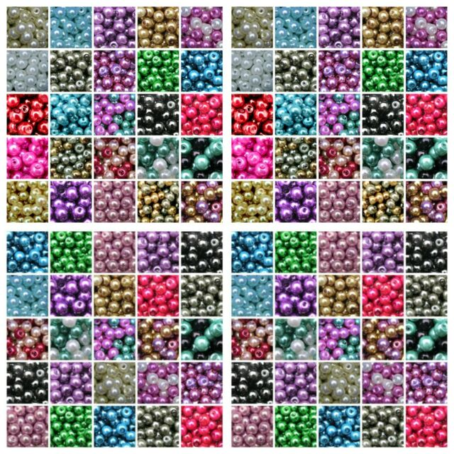 Round Glass PEARL Beads ( 400 - 4mm ) ( 200 - 6mm ) (100 - 8mm ) 50 - 10mm) ML