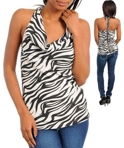 Womens blouse metal zipper racer bk cowl neck zebra XS S M  Charlotte Russe