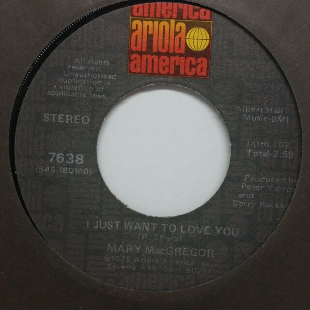 """Mary Macgregor: I just want to love you / Torn between 2 7"""" 45 record 45rpm 20v"""