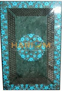 """20""""x40"""" Marble Dining Table Top Turquoise Stone Floral Inlay Home Furniture B194"""
