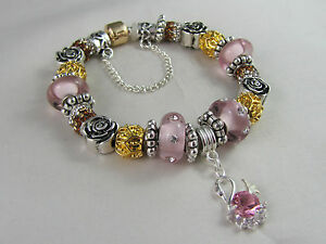 925-STAMPED-20cm-EUROPEAN-STYLE-PRETTY-CHARM-BRACELET-034-PINK-SWAN-WITH-GOLD-034