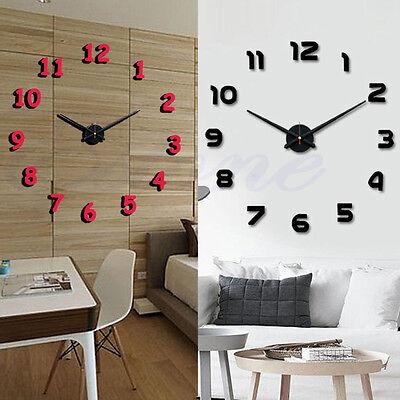 Hot Fashion Metal Face Hands EVA Number 3D DIY Large Wall Clocks Home Room Decor