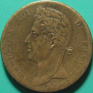 1825-A-FRENCH-COLONIES-5-CENTIMES-CHARLES-X-PARIS-MINT-WORLD-COIN-BRONZE-27mm