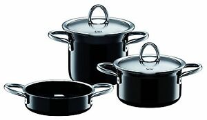 wmf silit ceramic minimax 5 piece cookware set in black made in germany. Black Bedroom Furniture Sets. Home Design Ideas
