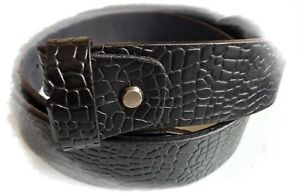 Men,s Genuine Leather Crocodile Style Belt Snap On Strap No Buckle 1.5 Inch Wide
