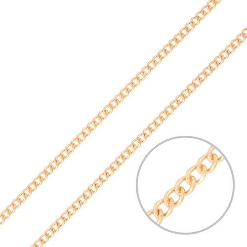 4x3 Classic Fine Curb inachevée chaîne plaqué or rose 1 mètres H44//9