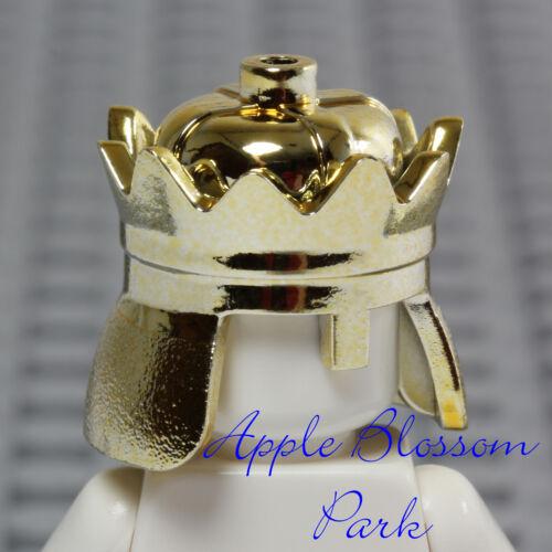 King Prince Helmet Castle Kingdom Head Gear NEW Lego Minifig CHROME GOLD CROWN