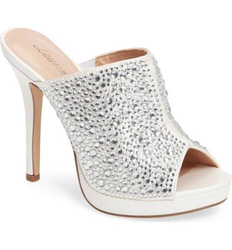 LAUREN LORRAINE Mimi White Rhinestone Embellished Slide Mule Sandal Pumps