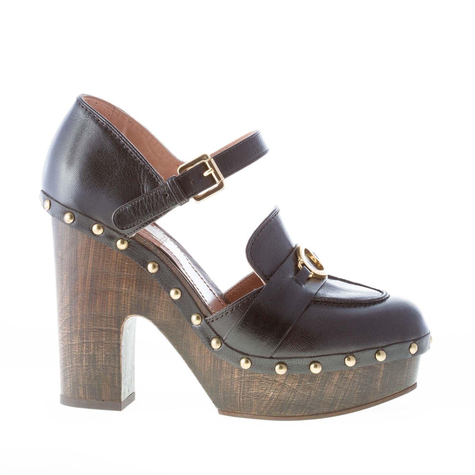 L'AUTRE in CHOSE scarpe donna women shoes zoccolo in L'AUTRE pelle nero con cinturino bbd814