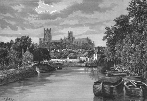 Banks of Ouse c1885 old antique vintage print picture Ely CAMBS