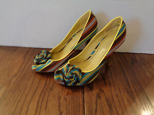 Charlotte-Russe-Peep-Toe-Heels-Striped-Lime-Brown-Turquoise-WMS-Size-7