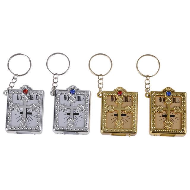 Mini HOLY Bible Keychain Religious Christian Jesus Cross Key Chain Keyring ESBh
