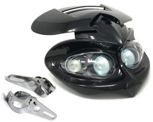 Moto-Faro-amp-Soportes-Para-Bicicleta-De-Proyecto-Streetfighter-Personalizado-Negro