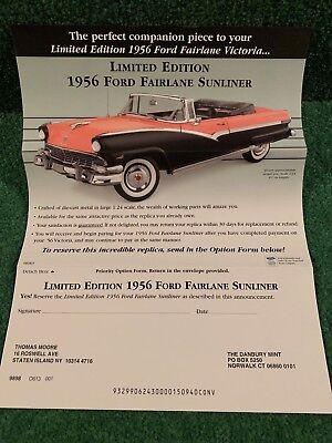 Danbury Mint Brochure 1956 Ford Fairlane Victoria LE