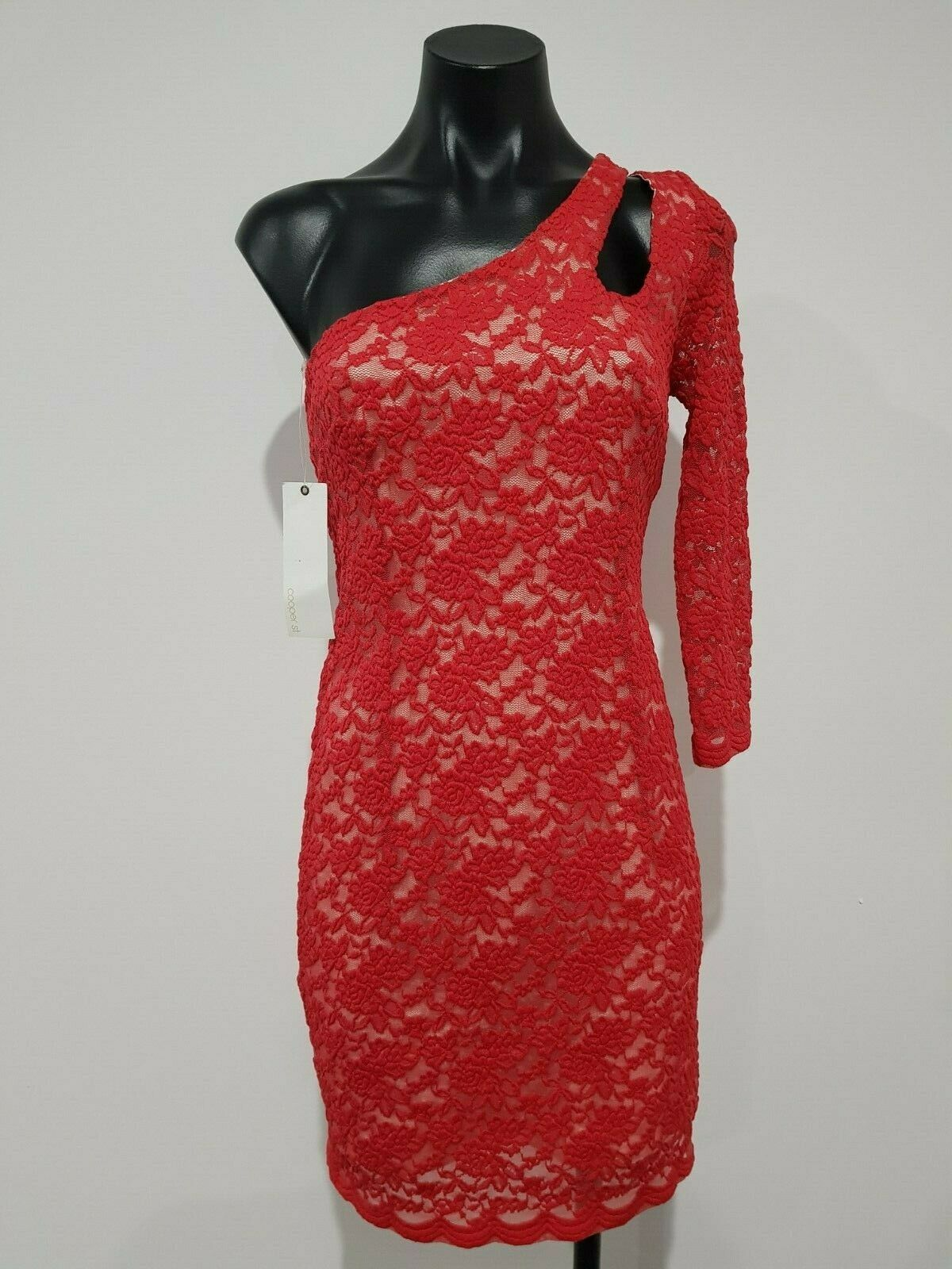 Cooper St Größe 6 damen One Shoulder Long Sleeve rot Lace Bodycon Dress NEW