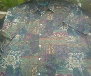 Tori-Richard-Floral-Aztec-Design-Cotton-Lawn-Hawaiian-Shirt-Men-039-s-Size-XL-Aloha