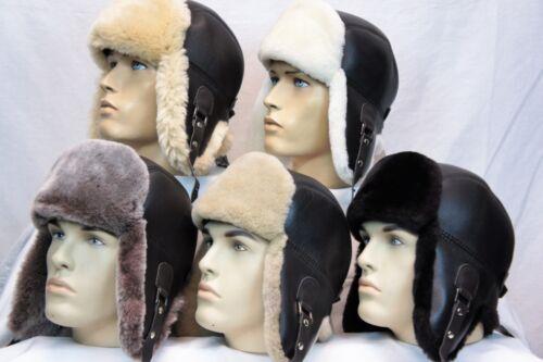 Brown 5 fourrure couleurs de peau de Mouton Shearling Cuir Trappeur Pilote de chasse chapeau S-2XL
