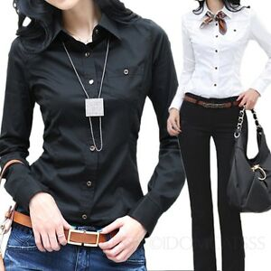 ladies business button up long sleeve office top shirt