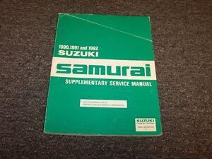 1990 1991 1992 suzuki samurai shop service repair manual supplement rh ebay com samurai factory service manual samurai factory service manual