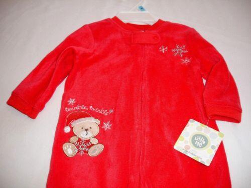 LITTLE ME Red Fleece Christmas Sleeper Bear Full Zipper Infant Boys 6 Month NWT