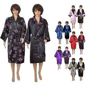 fe75822934b900 Das Bild wird geladen Kimono-Damen-Herren-lang-Morgenmantel-schwarz-lila- blau-
