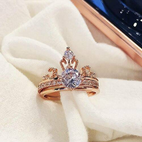 UK 1Pc Index 2in1 Crown Finger Ring Micro-inlaid Zircon Party Jewllery Gift