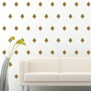 96-of-4-034-Gold-Diamond-Shape-DIY-Removable-Peel-amp-Stick-Wall-Vinyl-Decal-Sticker