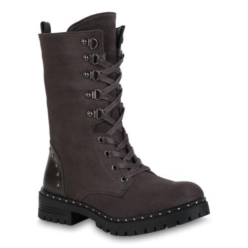 Damen Stiefel Schnürstiefel Warm Gefütterte Combat Boots Nieten 824496 Schuhe