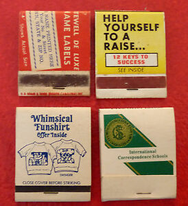 Rare-Vintage-Match-Book-Lot-of-4-Offers-Info-Adds-Correspondence-Schools