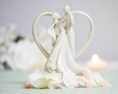 Stylized Heart Frame Bride and Groom Figurine White Wedding Cake Topper (707515)