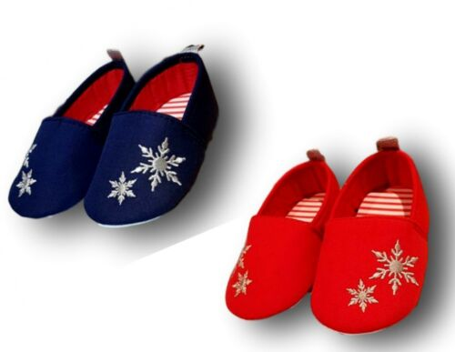 Baby Toddler Girls Christmas Red Navy Snowflake Slippers Shoes Size 0-6,6-12m