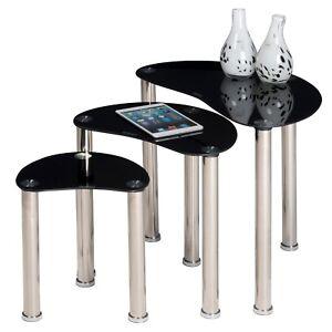 Image Is Loading Set Of 3 Tempered Black Gl Side Tables