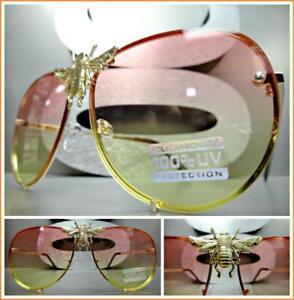 OVERSIZED Classic Luxury Designer RETRO Style SUN GLASSES Gold Frame Green Lens