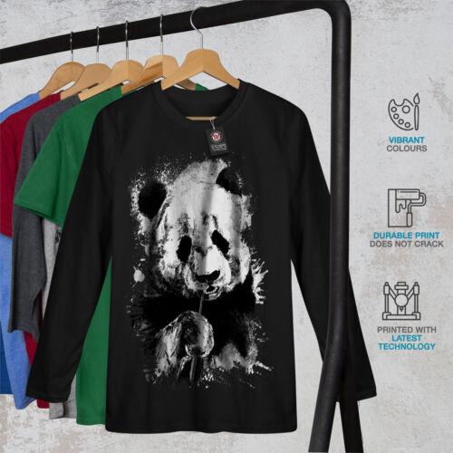 Wellcoda Eating Panda Face Womens Long Sleeve T-shirt Bamboo Casual Design