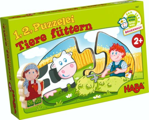 Puzzle legepuzzle 1,2 puzzelei animaux nourrir Haba 7467