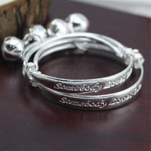 2pcs-Somebody-Loves-Me-Small-Bell-Silver-Baby-Children-Jewelry-Bangle-Bracelet