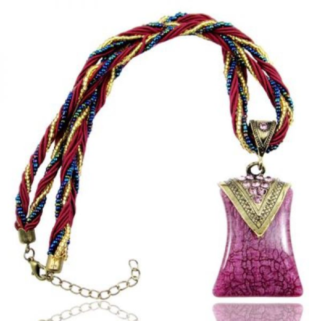 Handmade Bead and String Violet Curved Bohemian Bronze Necklace N82