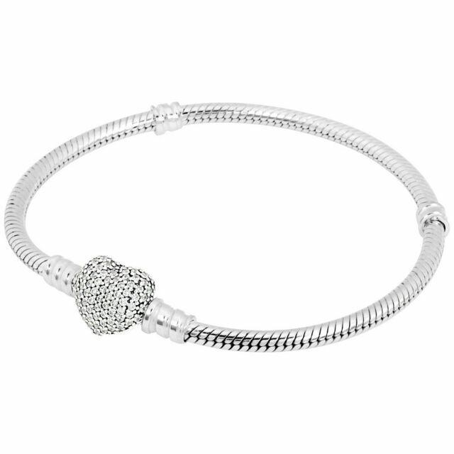 590727cz 21cm Pandora Authentic Pave Heart Clasp Sterling Silver Bracelet 5700302429435 For Sale Online Ebay