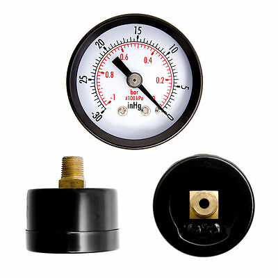 "1-1/2"" Dry Utility Vacuum Pressure Gauge Steel 1/8"" Center Back -30HG/0PSI YK"