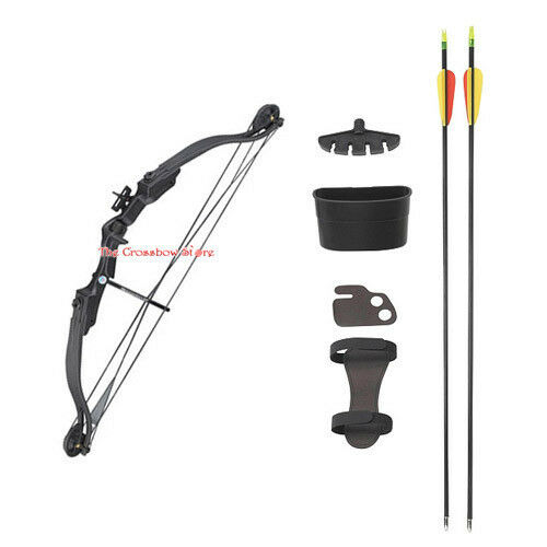 "25 lbs 28"" Black Compound Archery Bow Set With Arrows + Quiver"