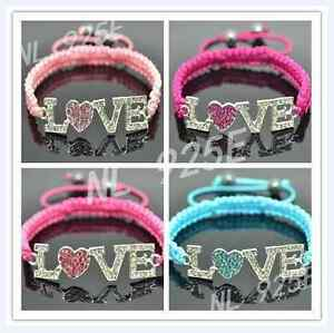 UK-NEW-SHAMBALLA-STYLE-RHINESTONE-LOVE-HEART-BEAD-COLOUR-STRING-BRACELET