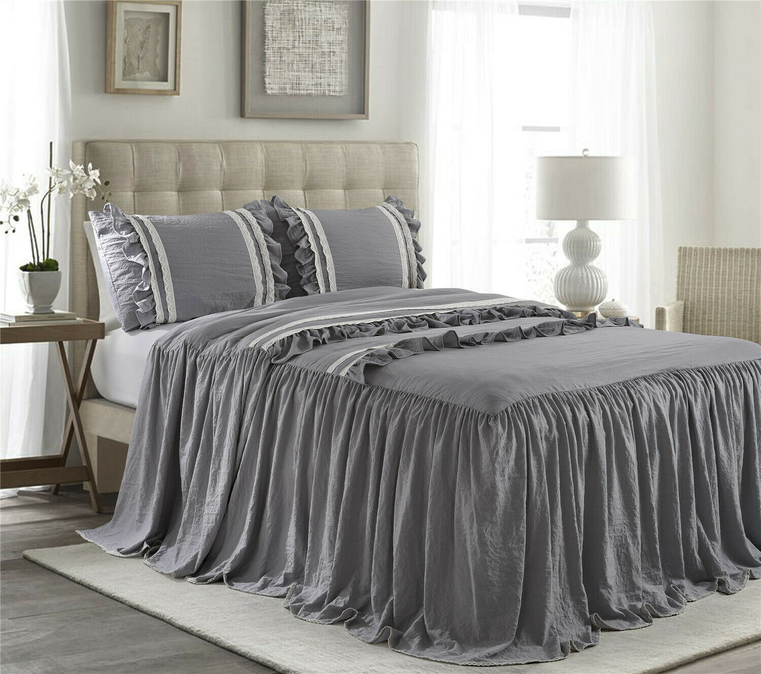 3 pc Queen Drop Ruffle Skirt Bedspread Set Includes 2 Ruffle Shams Ivory