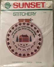 Vintage 1980 Sunset Designs Stitchery Kit  2083 Enchanted Forest 10 x 20 Christmas Scene