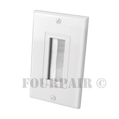 2-Gang White Monoprice Cable Plate with Flexible Opening