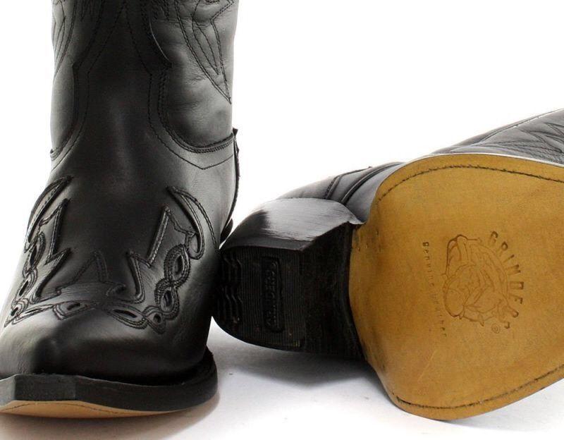 Grinders Arizona Unisex Schwarzes Leder Spitz Cowboy Western ohne Bügel Größe