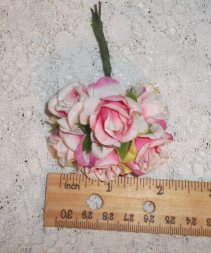 var PINK millinery Vintage style 6 silk ROSE flower cloth pick ALEXANDER dolls