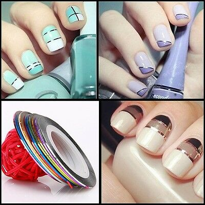 30 Pcs Mixed Colors Rolls Striping Tape Line Nail Art Tips Decoration Sticker