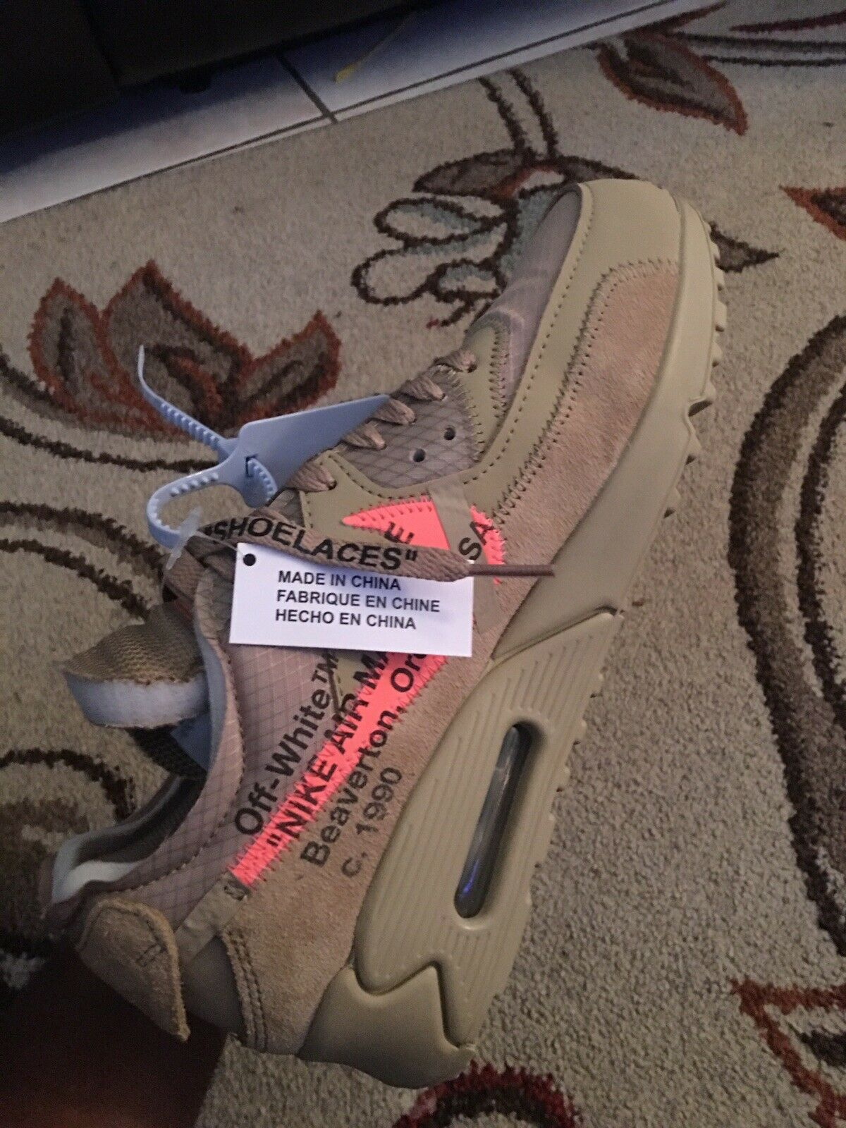 "Nike The Ten  Air Max 90 X Off-White ""Desert Ore"" 2019 Size 6.5 100% Authentic"