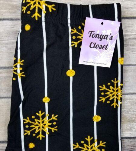 PLUS Snowflake Leggings Black Gold Pinstripe Buttery Soft Curvy 10-18 TC